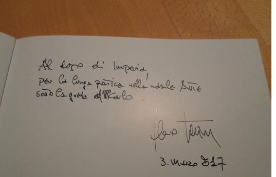 La dedica del M° Bertini al nostro Dojo<br><br>